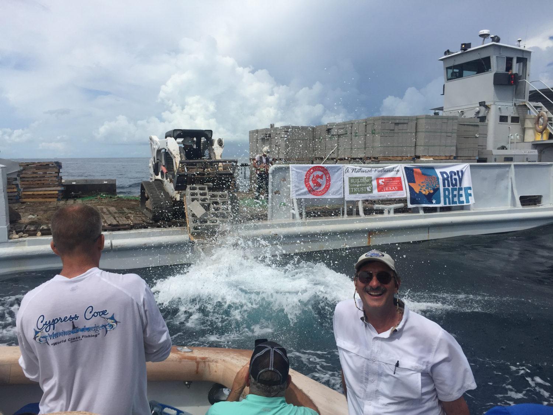 RGV Reef boat dumping concrete blocks